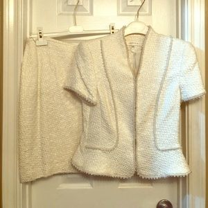 Escada White Boucle Suit with Crystal details.